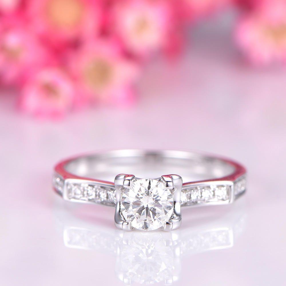 Unique moissanite engagement ring 5mm round cut Charles & Colvard ...