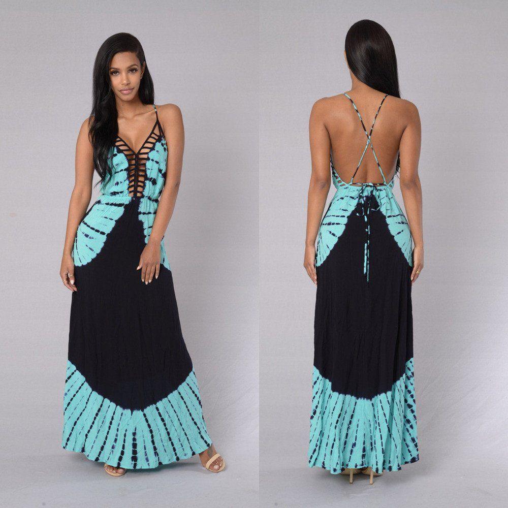 Women dress summer long maxi dresses floral print cotton sexy