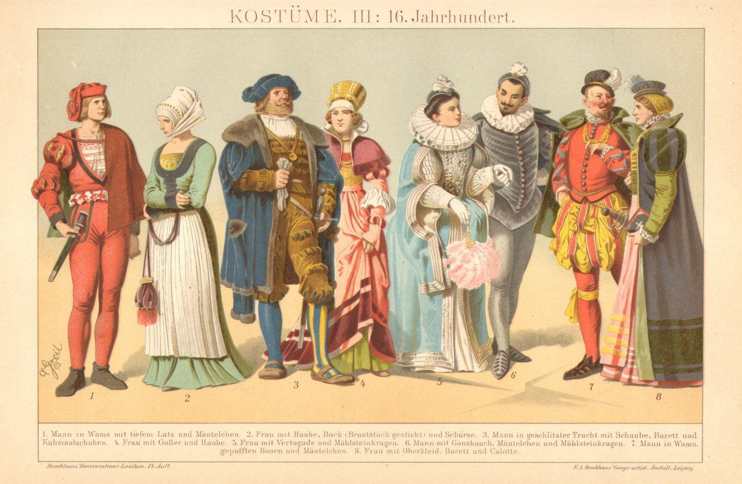Costumes From The 16th Century Antique Chromolithograph Printed