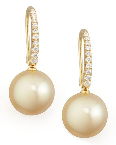 P3851 Eli Jewels Golden South Sea Pearl and Diamond Drop Earrings, Yellow Gold