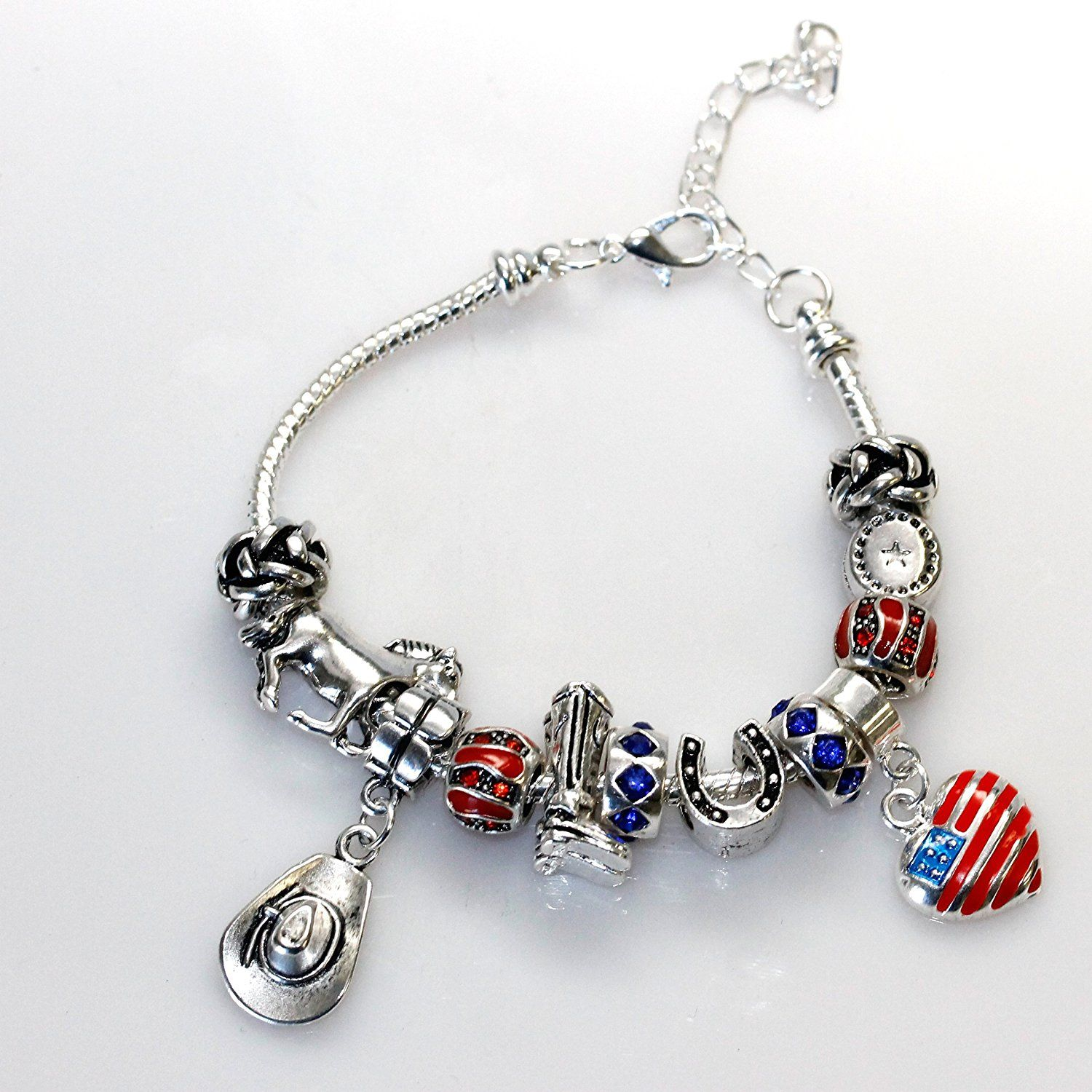 Country Cowgirl Theme Charm Style Bracelet 7 With 2