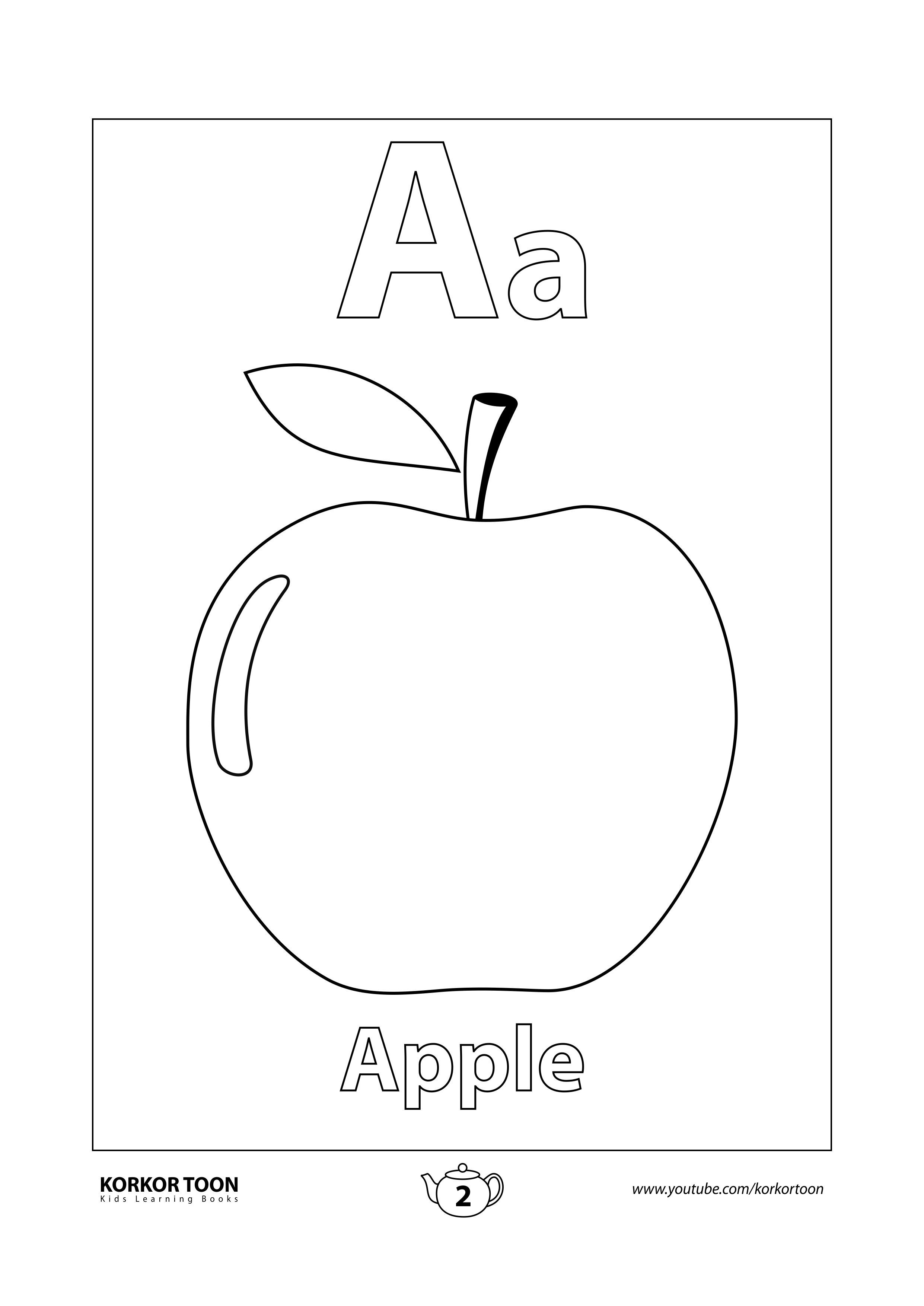 A For Apple Coloring Page Apple Coloring New Apple Coloring Pages Preschool Coloring Pages Fruits Coloring Pages