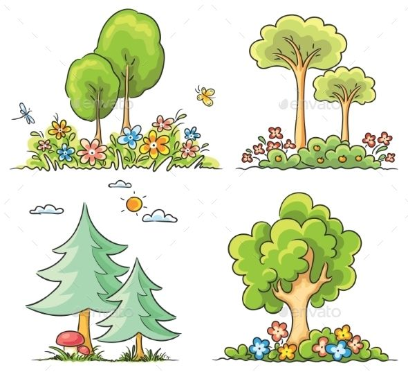 Cartoon Trees With Flowers Cartoon Trees Picture Tree Flowering Trees