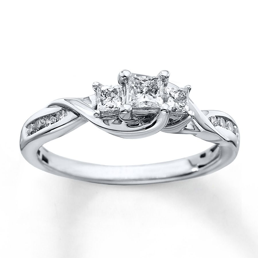 3 Stone Diamond Ring 1 2 Ct Tw Princess Cut 10k White Gold