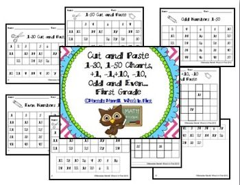 Cut-Paste 1-30, 1-50, 51-100 Charts, By 2s, 5s, Odd and Even BUNDLE