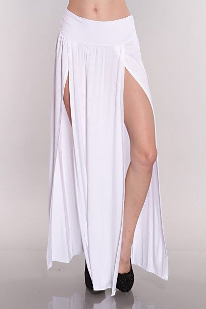 White Double Slit Maxi Skirt, #sexy | Maxi world!!! | Pinterest ...