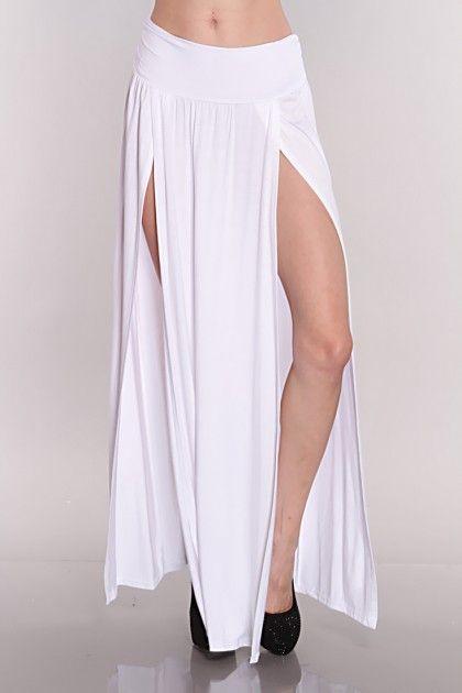 7a02ed6ae1 White Double Slit Maxi Skirt, #sexy | Maxi world!!! | Skirts, Sexy ...