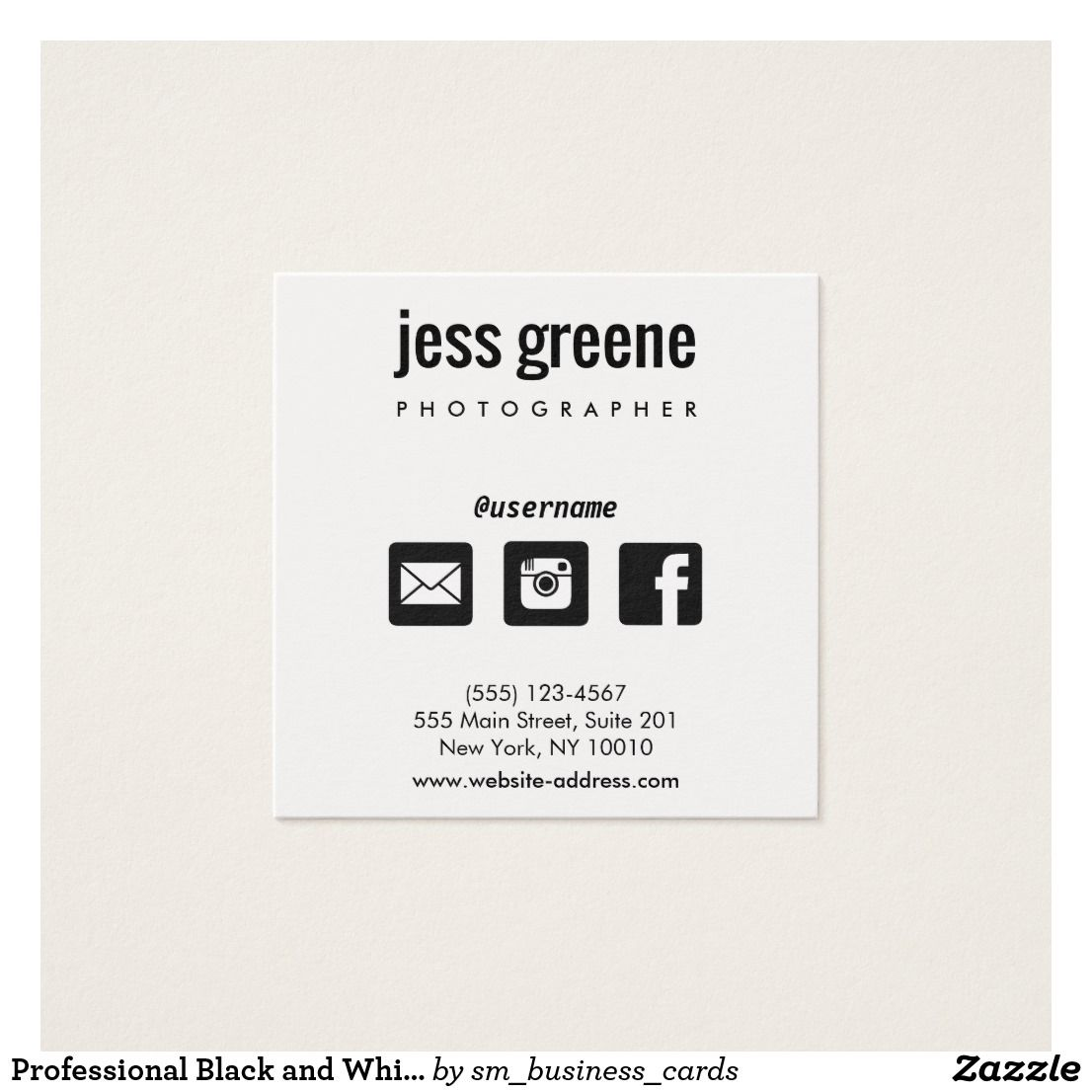 Professional black and white social media icons square business card professional black and white social media icons square business card reheart Gallery
