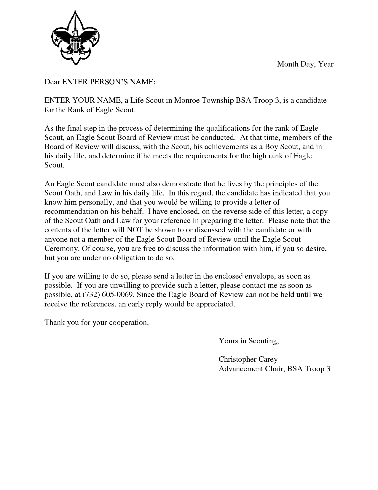 Eagle Scout Reference Request Sample Letter Doc 7 By