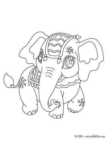 Kawaii elephant coloring page. More Africain animals coloring sheets ...