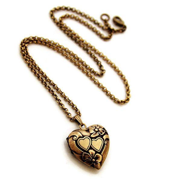 Gold Heart Locket  Pretty Double Heart Locket by DearestMine