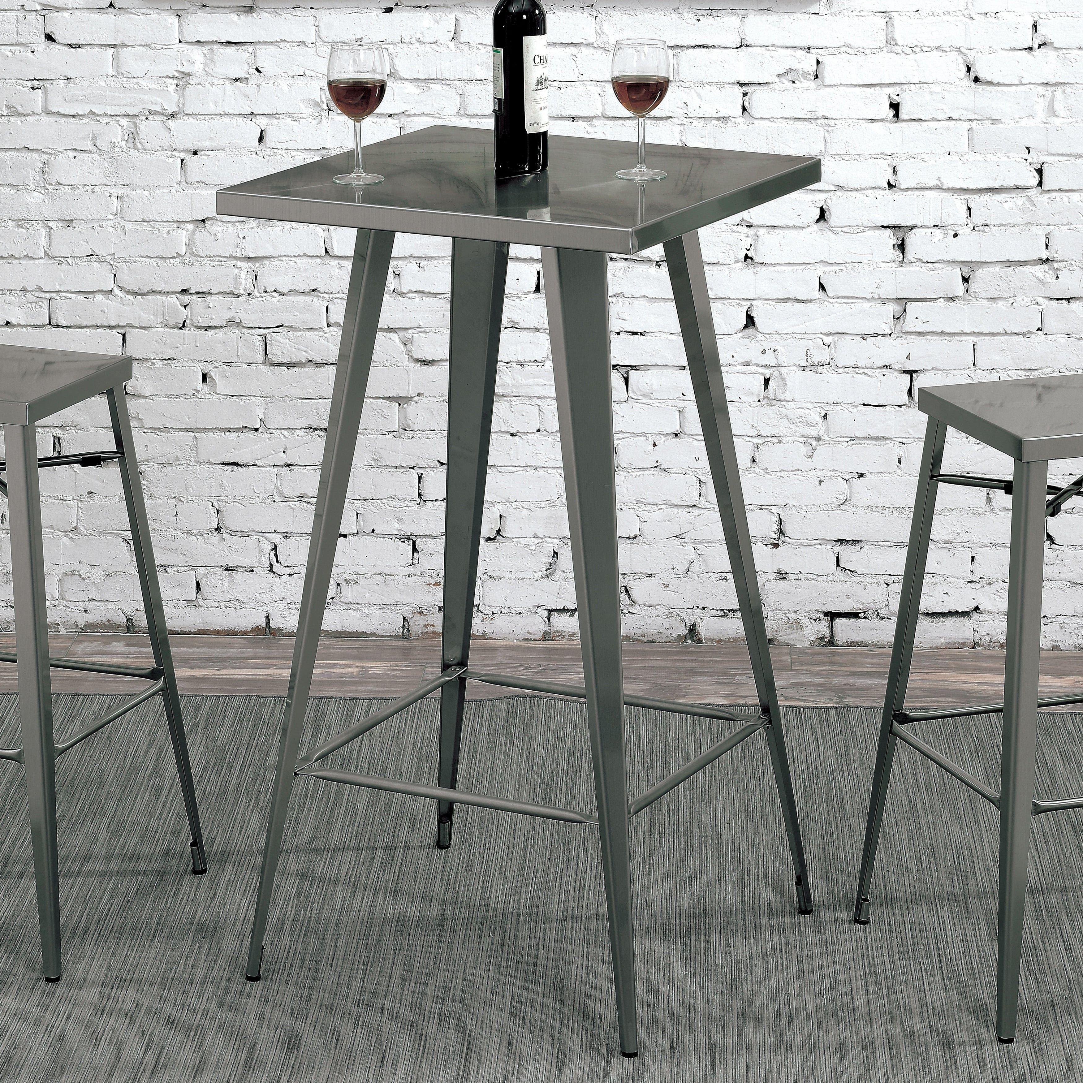 Furniture Of America Cordon Industrial Dark Grey Square 42 Inch Tall Bar  Table (Dark