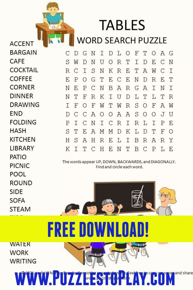 Tables Word Search Puzzle Word Search Puzzle Free Word Search Puzzles Printable Puzzles [ 1200 x 800 Pixel ]
