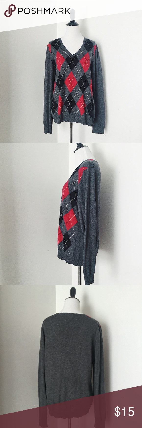 Gray & Red 100% cashmere Argyle sweater | Cashmere sweaters ...