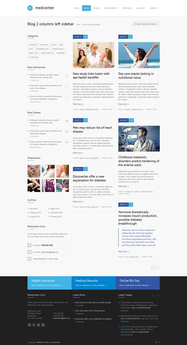 MediCenter - Responsive Medical WordPress Theme by QuanticaLabs, via Behance