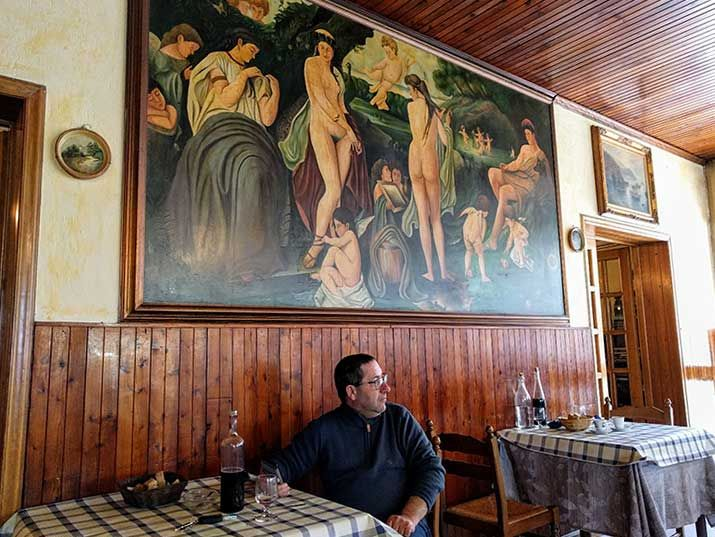 Ristorante Bernardi near Tresana in the Lunigiana is a great place to eat an inexpensive lunch in the presence of friendly locals and massively fine art.