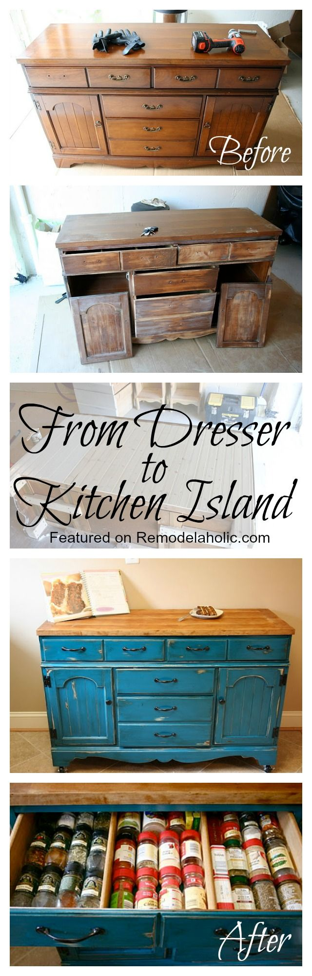 From Dresser To Kitchen Island Tutorial   Kitchen Island Upcycle