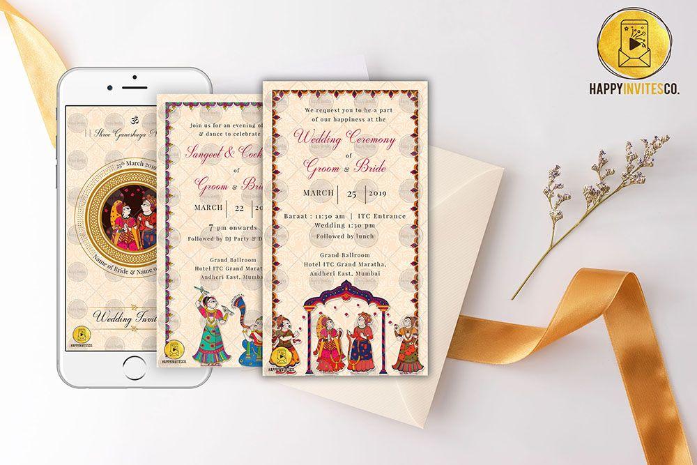 Phad Painting Traditional Indian Wedding Invitation