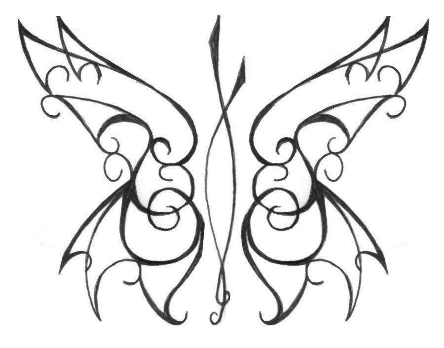 tribal butterfly drawings - HD1400×1100
