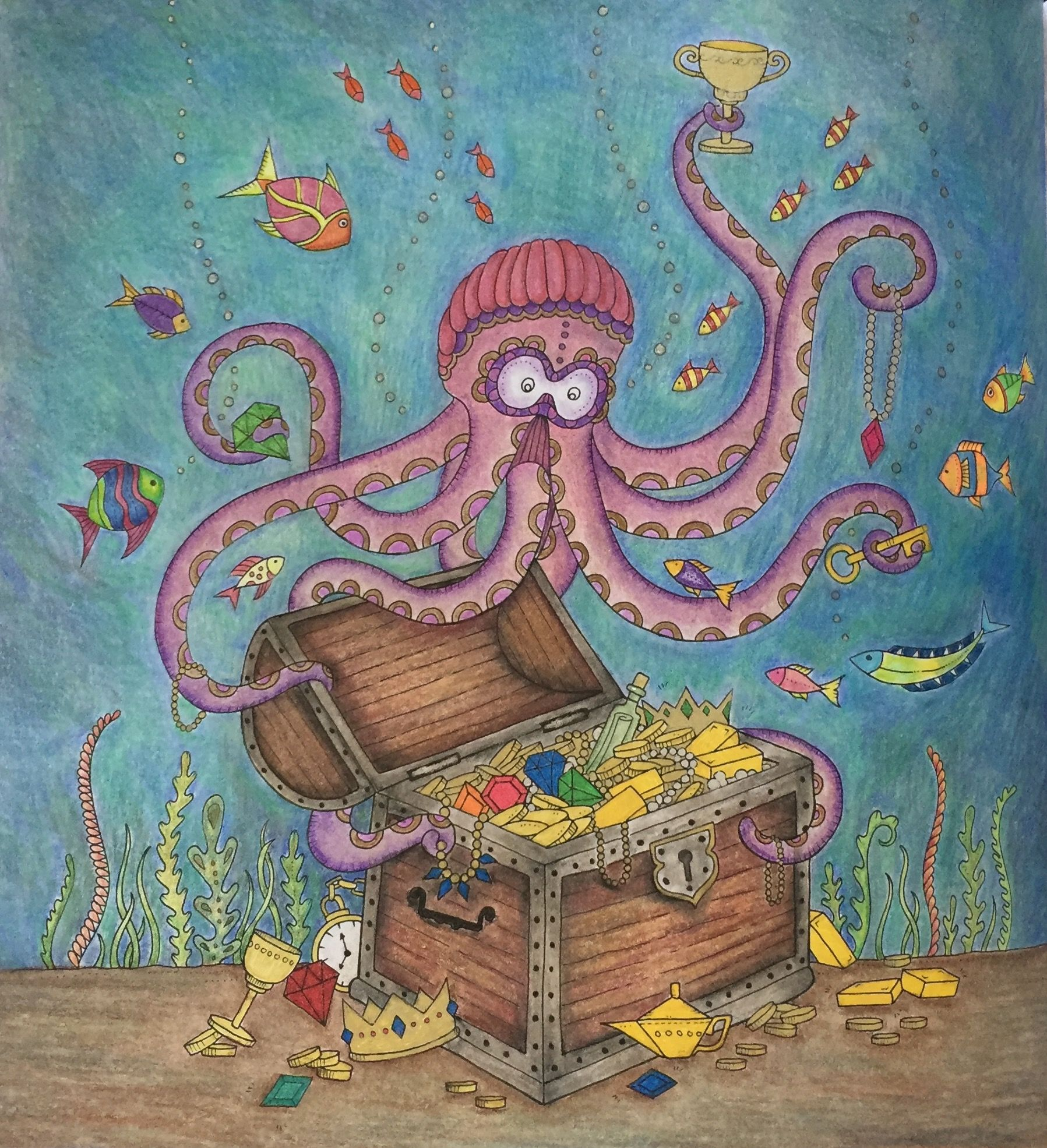 Lost Ocean Johanna Basford Octopus Colored Pencils And
