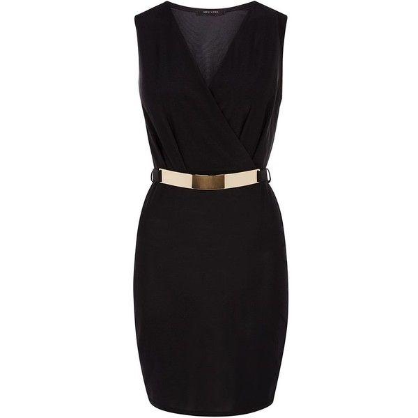 Black Slinky Belt Wrap Dress ($8.99) ❤ liked on Polyvore