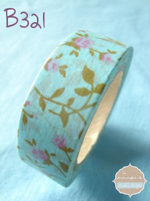 Washi Tape azul flores lilas