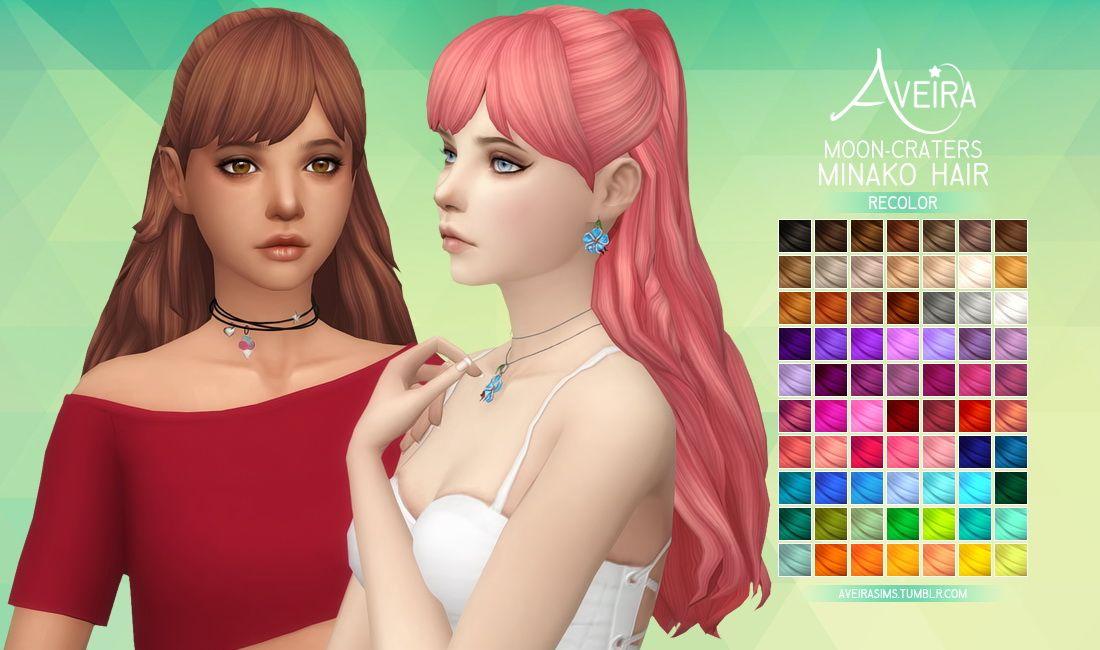 Aveira Sims 4: Moon Craters Minako Hair recolor   Sims 4