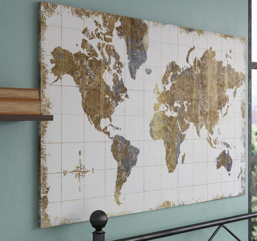 'Gilded Map' Graphic Art Print Map wall art, Map canvas