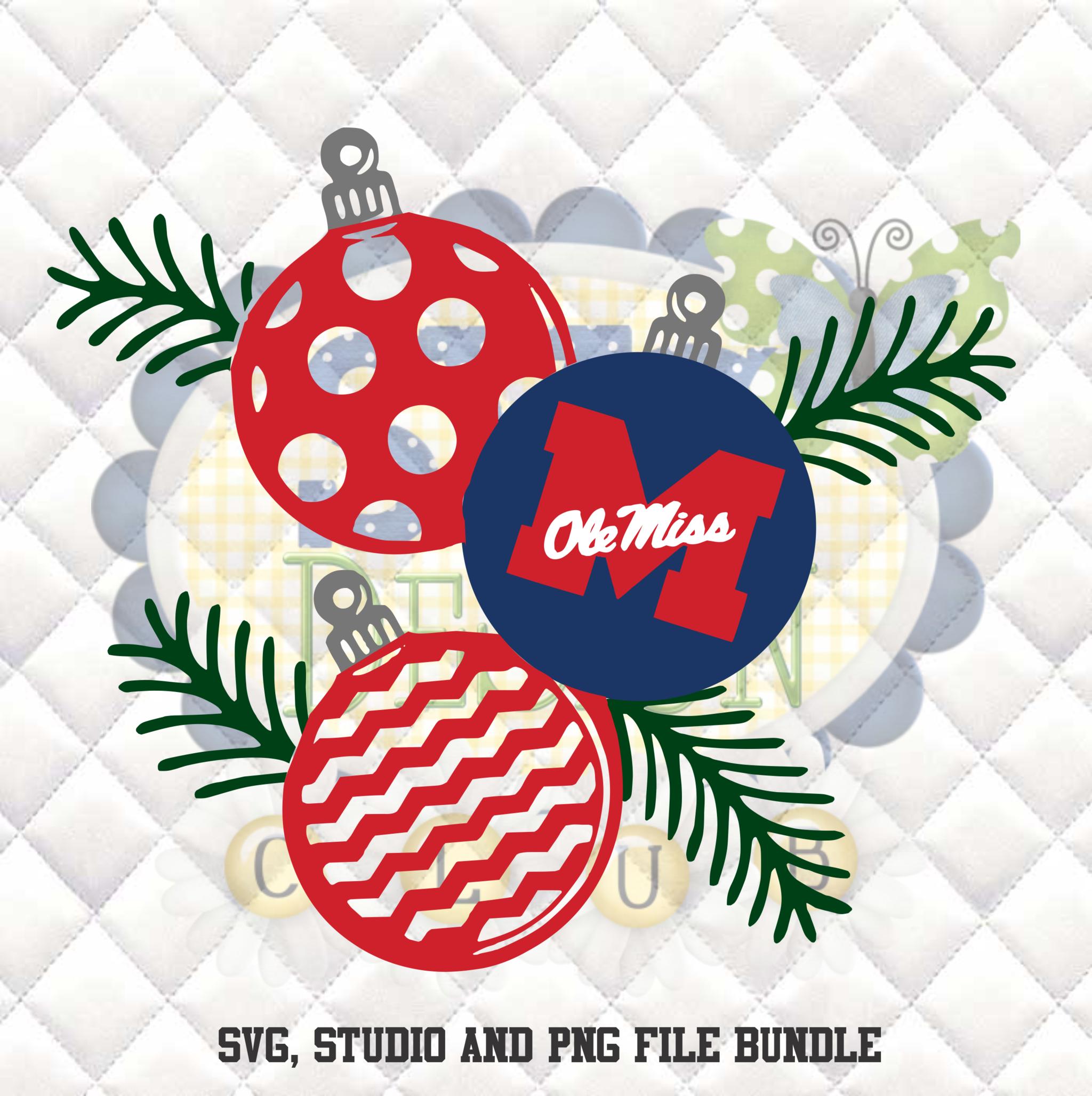 Ole Miss Rebels Christmas Ornaments Svg Silhouette Studio Bundle Design Download Christmas Svg Design Christmas Designs Christmas Svg