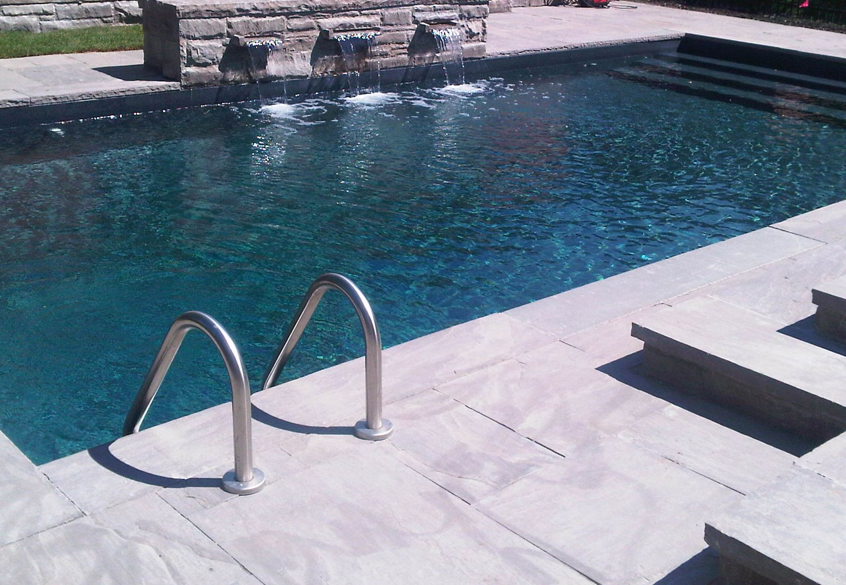 Dark red color pool liners pictures to pin on pinterest for Blue pond liner