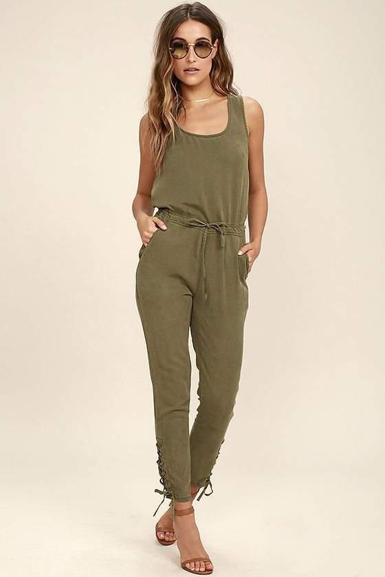 5142299c5a0 The Ysabel Olive Green Jumpsuit is your new sporty bestie! This woven  jumpsuit has a scoop neckline