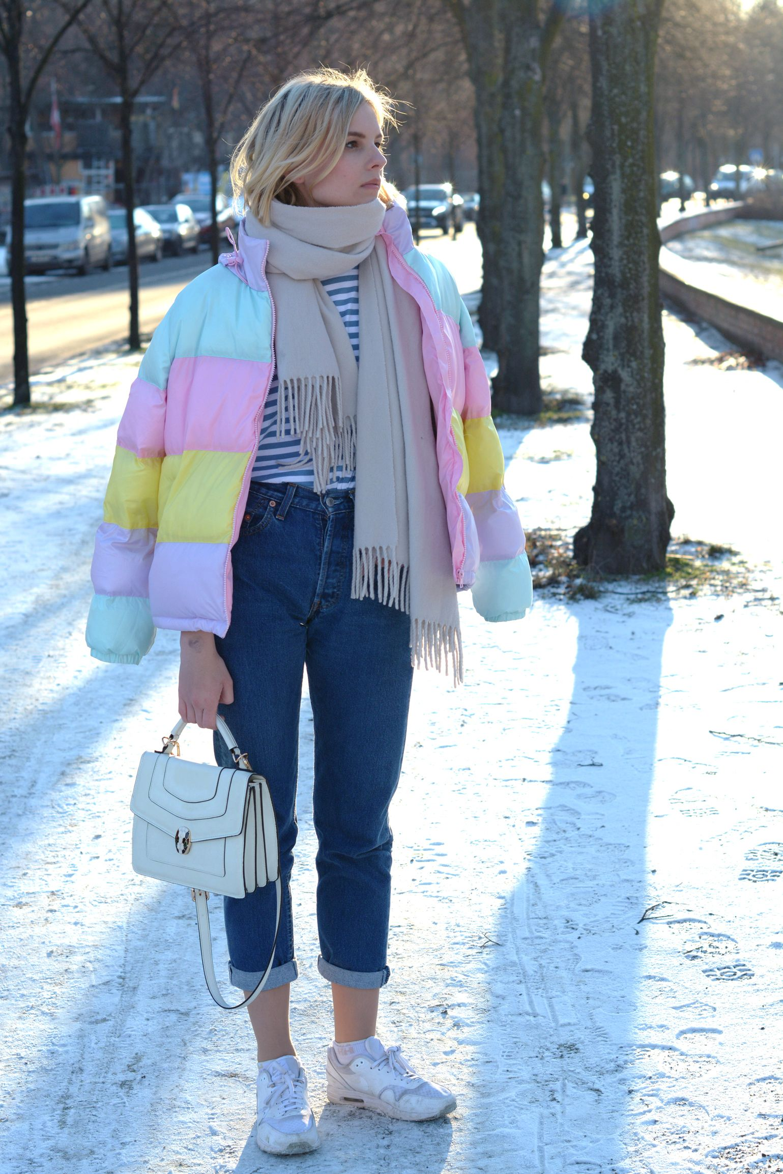 pastel coloured puffer jacket, winter look, striped shirt, mom jeans denim,  white bvlgari bulgari bag, white nike air max, white acne canada scarf -  outfit, ... 6dcdd3b48a