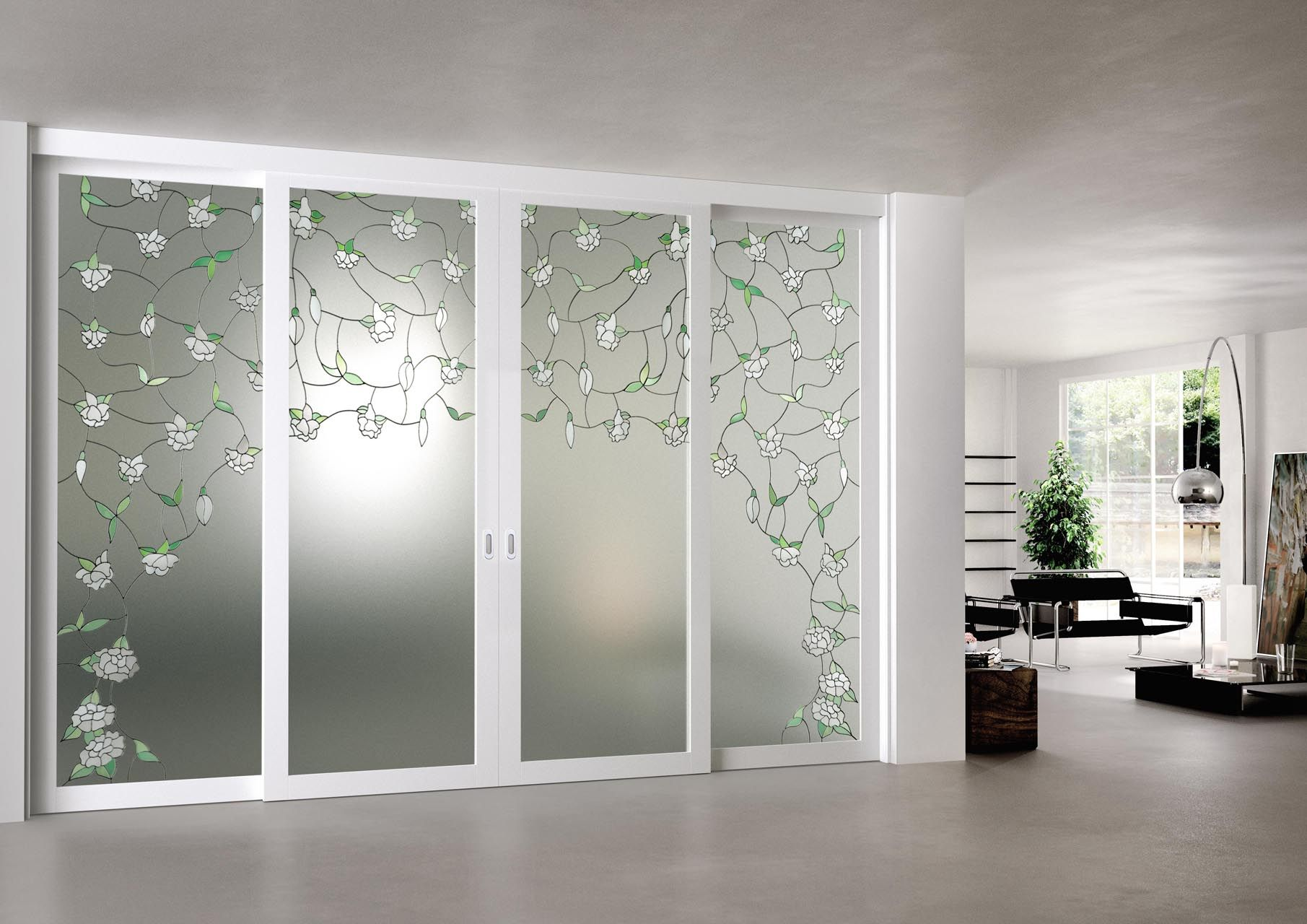 Porte Da Interno Colorate porta scorrevole in vetro stratificato acidato con decoro in