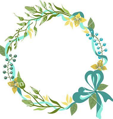 Color floral frame for wedding invitation design vector ...
