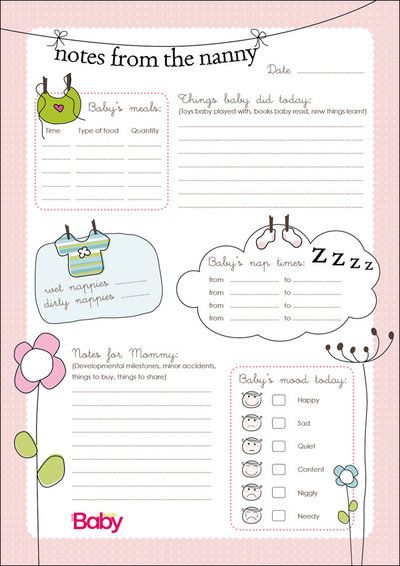 Daily chart for nannies Handy charts YourParenting Nannying - nanny contract template