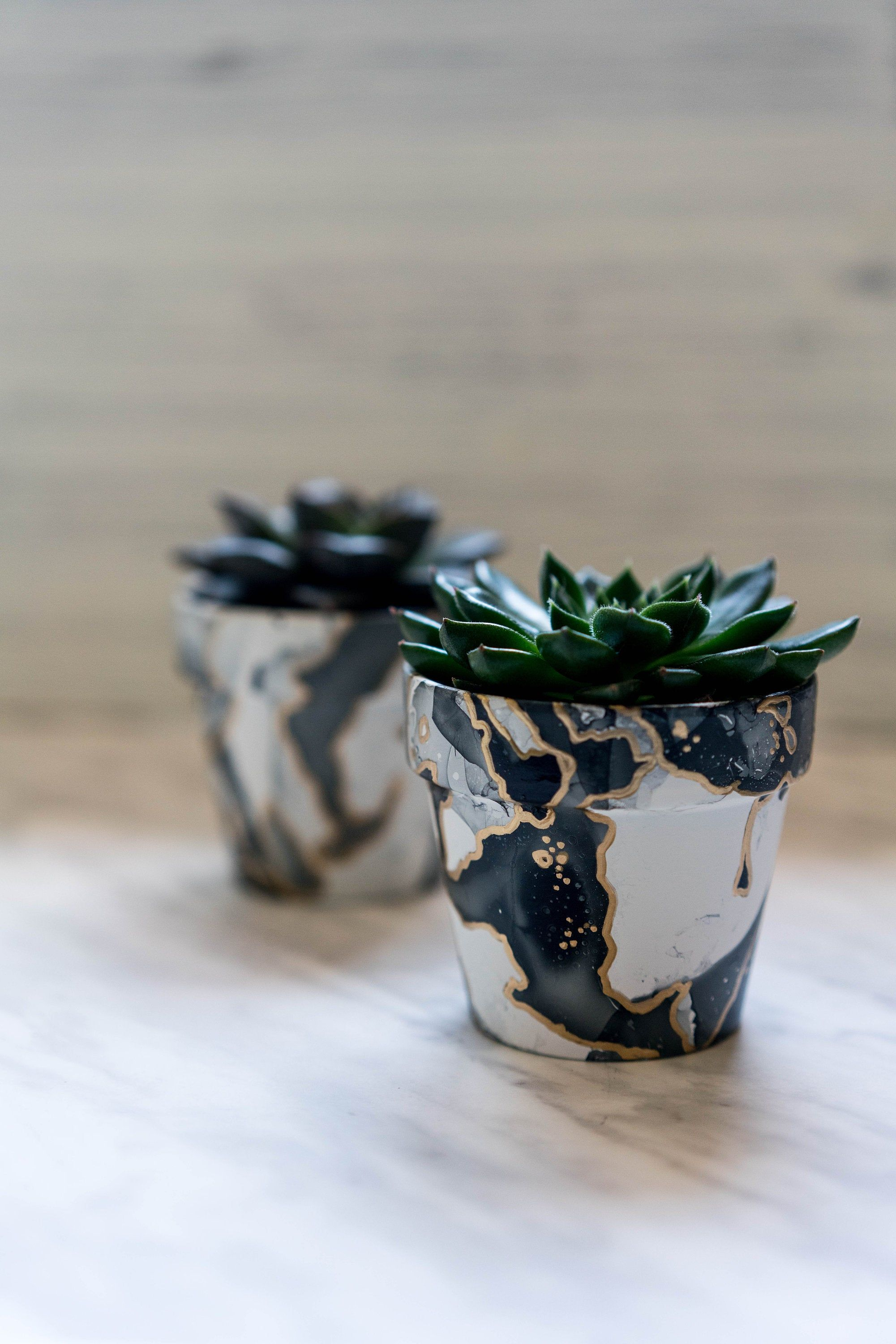 Clay planters with hand painted marble design medium plant