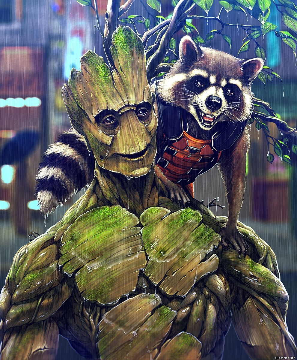 Star Lord And Rocket Raccoon By Timothygreenii On Deviantart: Rocket Raccoon And Groot By