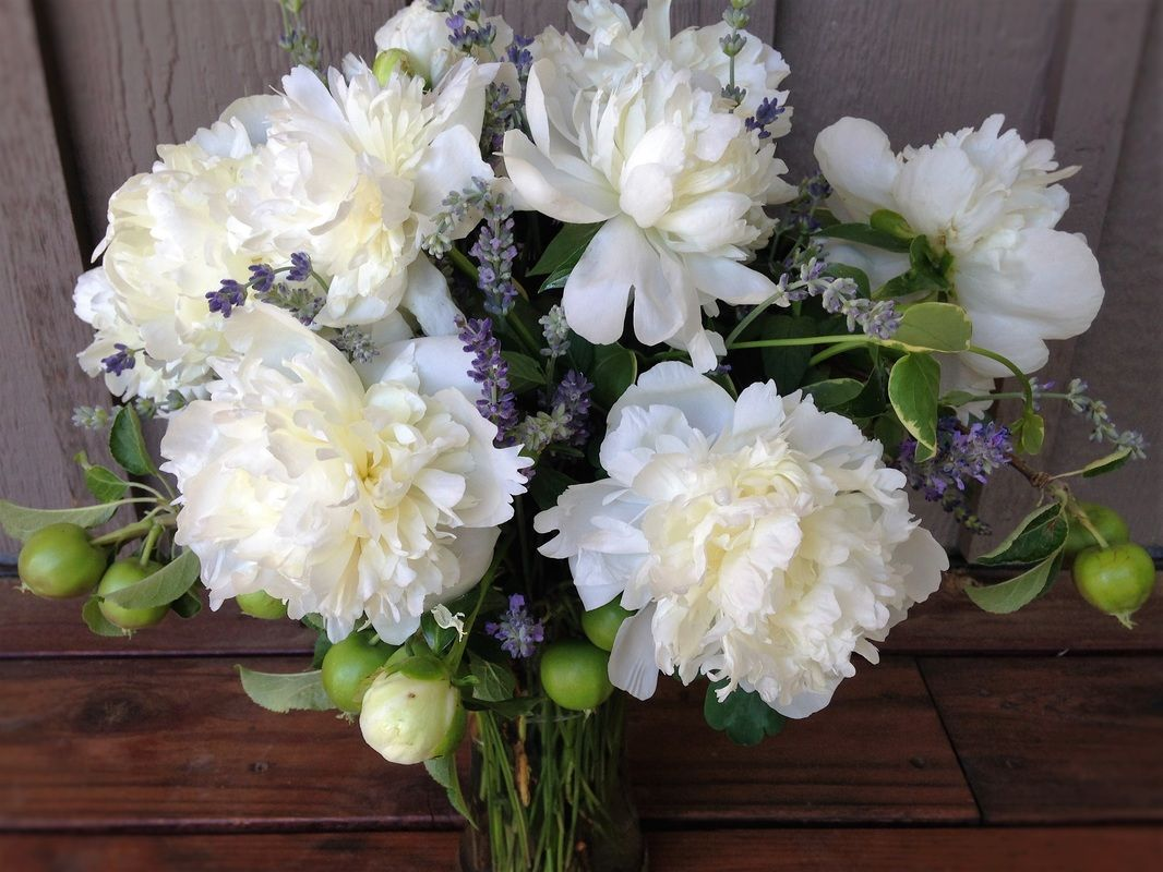 Elegant flower bouquet filled with white peonies, lavender, and green apples