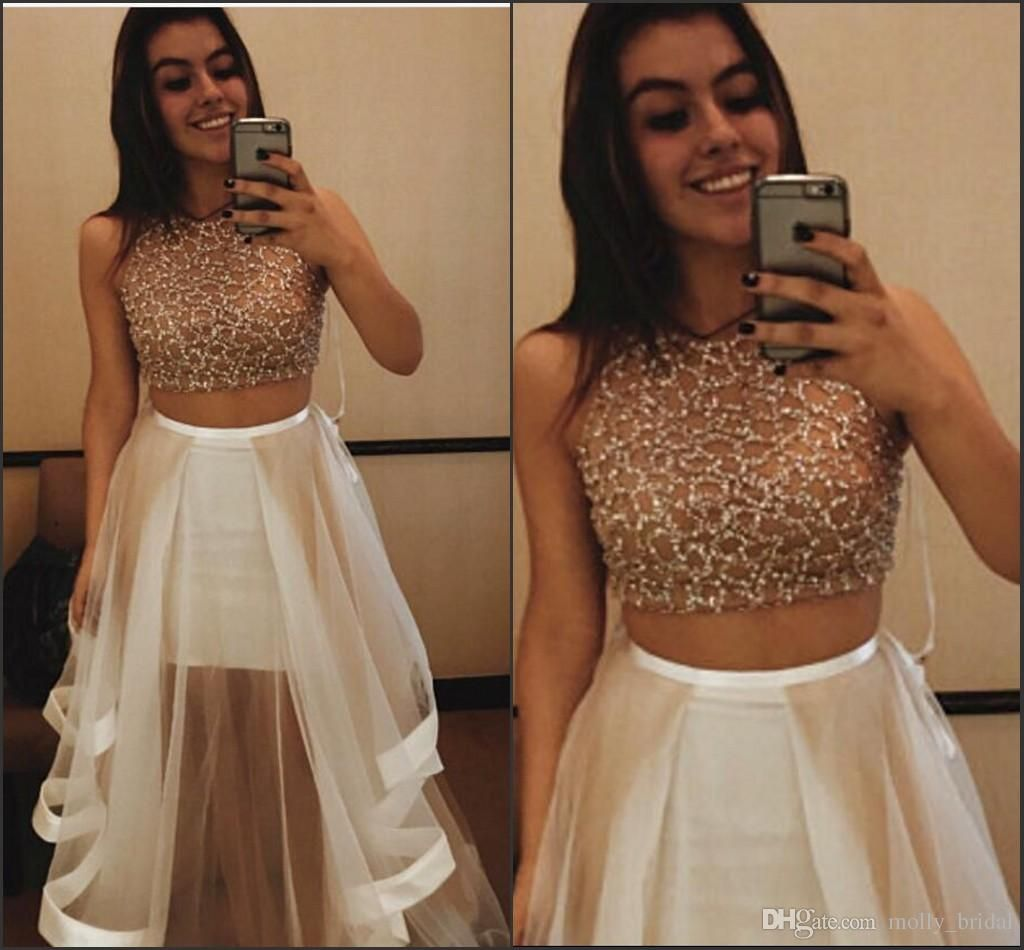 beautiful champagne two pieces prom dresses long satin sides
