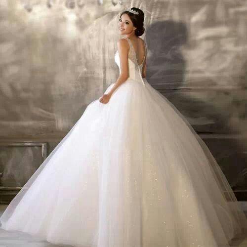 White Underlining Open Back Puffy Wedding Dress
