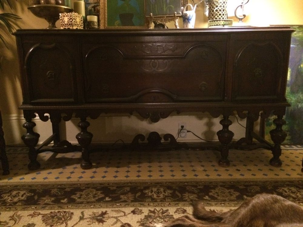 Details About Antique Elizabethan Jacobean Style Carved Oak Dining