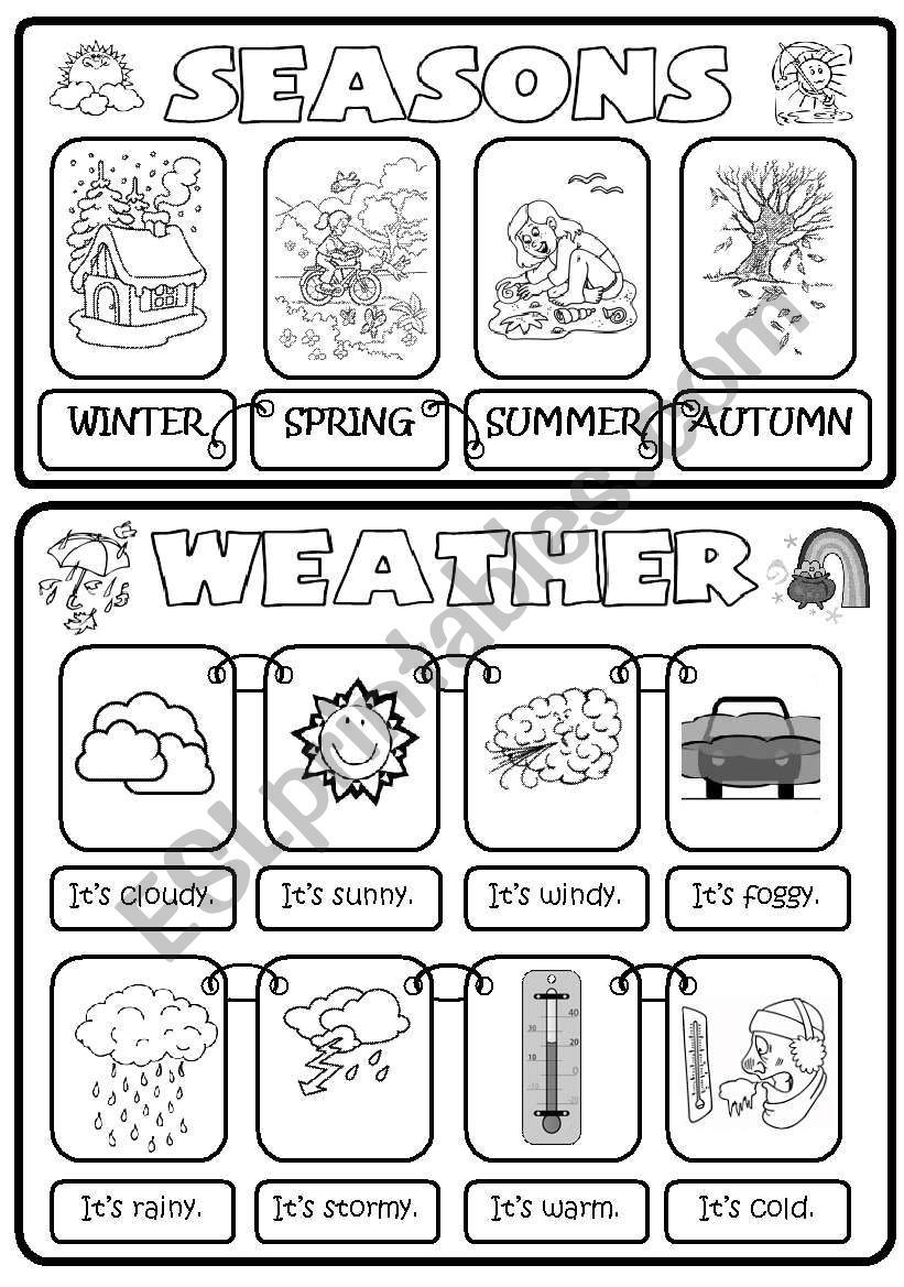 Seasons Weather Worksheet Weather Worksheets Seasons Worksheets Weather Esl