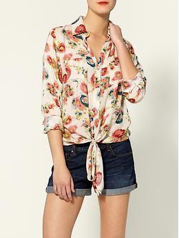 floral tie front shirt