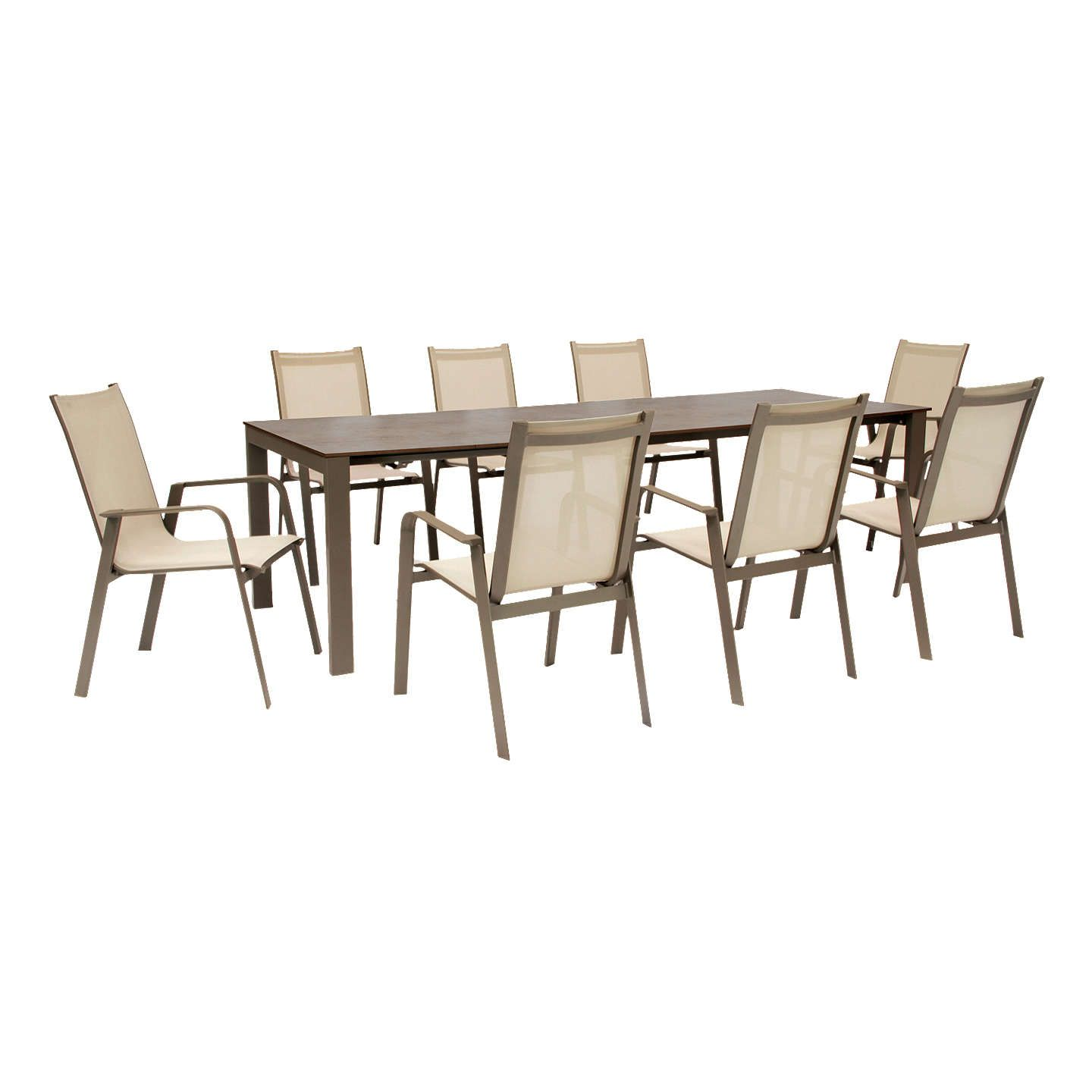 Kettler Paros 8 Seater Garden Dining Table And Chairs Set Grey: KETTLER Milano 8 Seater Garden Table And Chairs Set, Taupe