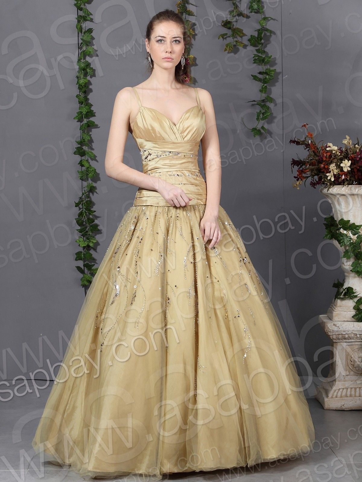 Tulle Spaghetti Strap Floor Length Gold Ball Gown Prom Dress ...