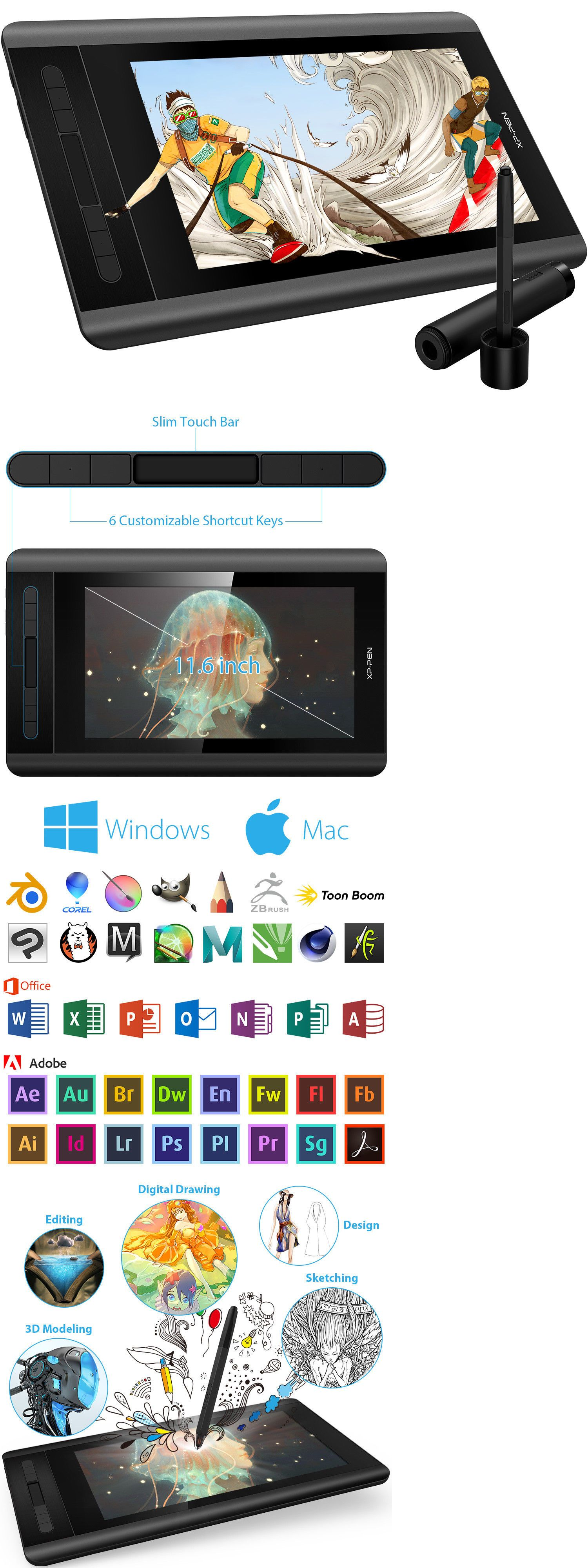 Xp Pen Artist12 11 6 Hd Drawing Pen Tablet Ips Graphics Tablet Monitor 8192 Digital Drawing Tablet Pen Tablet Drawing Tablet