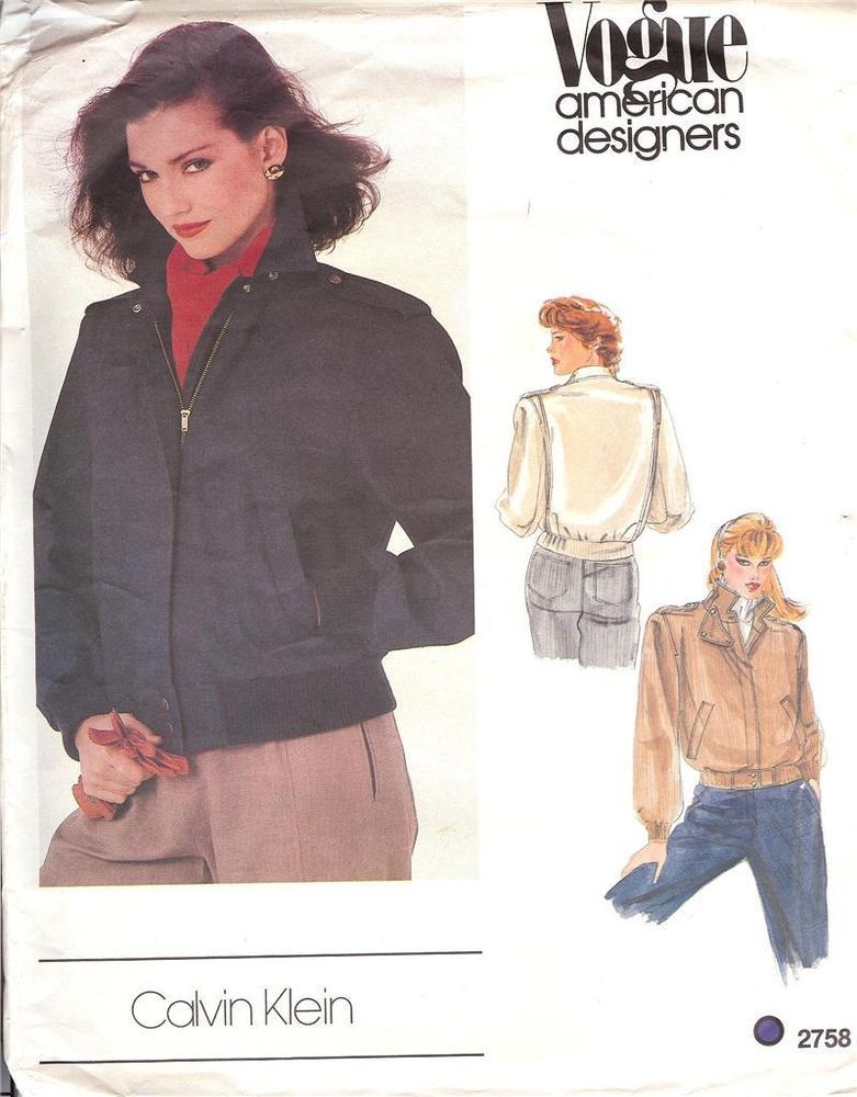 VOGUE 2758 CALVIN KLEIN FLY FRONT ZIP JACKET PATTERN SIZE 12 #Vogue ...