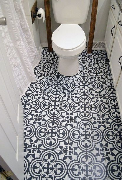 how to stencil a tile pattern on a bathroom floor, bathroom ideas, flooring, how to, painting