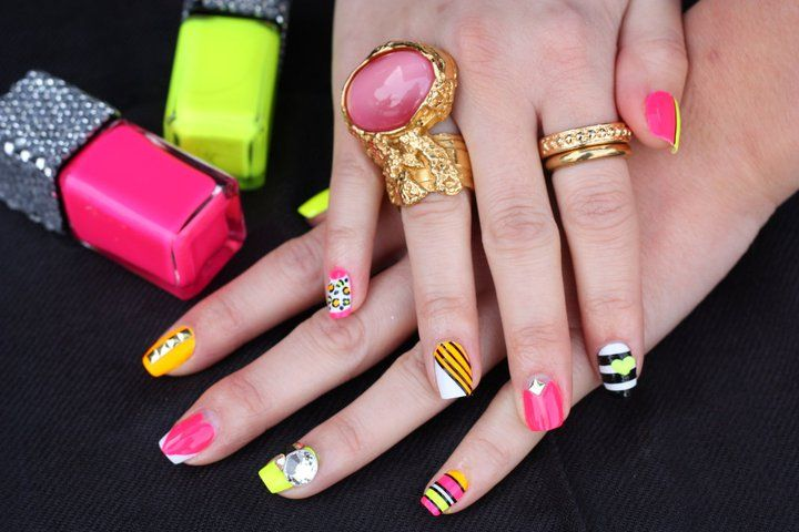 Neon Nails Love The Different Designs On Each Nail Neon Chick