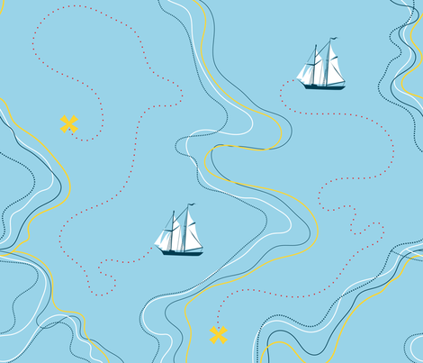 Sailing Wallpaper Sailing For The Treasure Yellow By Ravynka Sailing Cotton Fabric By The Yard With Spoonflower